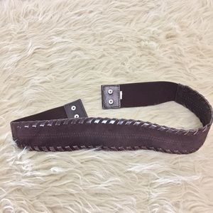 Anthropologie chocolate brown leather snap belt